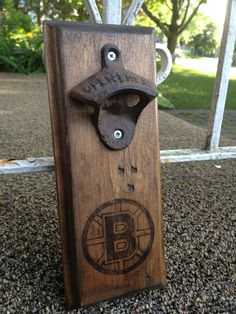 Wall bottle opener Boston Bruins...Request a team!.. Rustic style by GrubbyGuitars on Etsy