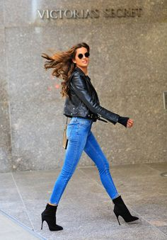 Iza Goulart heads into the Victoria's Secret office wearing stiletto booties.