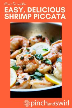 Shrimp Piccata is one of those easy, healthy recipes that's dinner party elegant and weeknight simple! Made with tender shrimp and fresh lemon all tossed in a creamy garlic butter and caper lemon sauce! Skip the cornstarch coating to make it keto diet friendly. Easy Summer Meals, Healthy Summer Recipes, Seafood Recipes, Vegetarian Recipes, Roast Broccoli And Cauliflower, Easy Make Ahead Appetizers, Mashed Red Potatoes, Healthiest Seafood, Vegetarische Rezepte