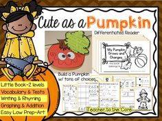 from Teacher To The Core @katiehappymom #TpT This unit teaches your students about the life cycle of the pumpkin while allowing them to practice their reading skills. Students will engage using these materials because they are rigorous and fun! You will love this packet because your students will growing as readers, scientists, mathematicians, writers, and test takers.