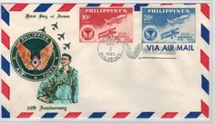 1960 Anniversary of Philippines Air Force Philippine Air Force, First Day Covers, 25th Anniversary, Postage Stamps, Wwii, Philippines, Facebook, Twitter, Airmail
