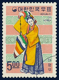 POSTAGE STAMPS OF FOLKLORE, Taepyeongmu, traditional culture,  yellow, blue, white, 1967 06 15, 민속시리즈, 1967년 06월 15일, 554, 태평무, postage 우표