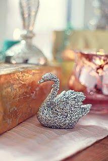 Glittered swan