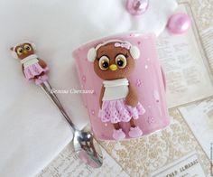 Купить Кружка ложка Совушка 1 - бледно-розовый, розовый, белый, совушка, сова