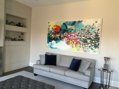 The collector send me a photograph of my #painting, framed and installed on the wall in Toronto! #abstract #art #clairedesjardins
