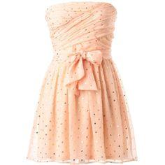 Swathed Sprinkles Dress (525 SEK) ❤ liked on Polyvore featuring dresses, dot dress, gold strapless dress, sash belt, red sash belt and ruching dress