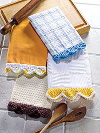 Free directions for crochet dishtowel edgings. Nice for a quick gift.