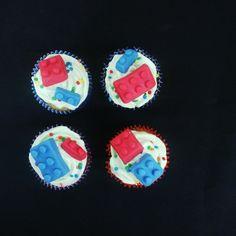 Lego cupcakes (Custom made Fondant Lego) (Bloemfontein cake & cupcakes) Lego Cupcakes, Lego Cake, Fondant Cupcakes, Fondant Decorations, Cupcake Toppers, Icing, Cake Decorating