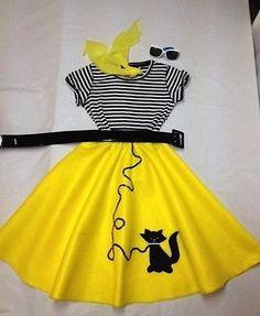 "Yellow Poodle (BLACK CAT) Skirt Costume Girls Sz M-L, 21"" L 5 pcs. HALLOWEEN"