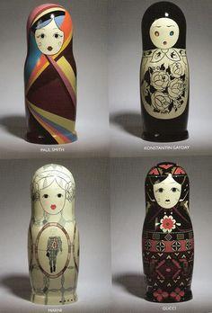 L-R. top to bottom: paul smith, konstantin gayday, marni, gucci http://onbeinglovely.wordpress.com/2008/12/22/martyoshkas-chic-russian-dolls-in-the-spotlight/