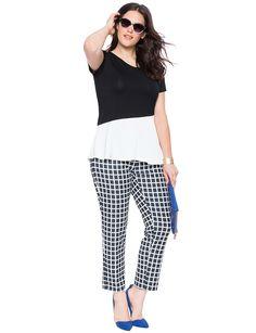 Asymmetrical Peplum Colorblock Top | Women's Plus Size Tops | ELOQUII