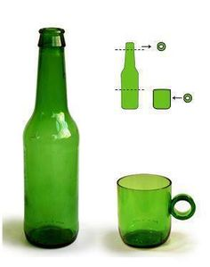 Cut an old glass bottle and turn it into a mug.