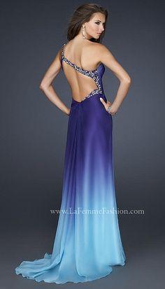 Alternate view of the La Femme Teal Blue Flower Design Beaded Prom Dress 17172 image
