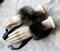 Vintage silver fox fur bracelets by Lupa. At http://thegreenwolf.etsy.com