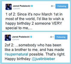 Jared Padalecki on Jensen Ackles' birthday... (twitter) #supernatural #cast