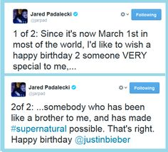 Jared on Jensen's birthday. Poor guy! He has to share a b-day with Justin.