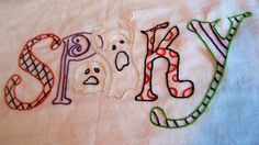 Colorful Spooky Halloween Hand Embroidered Dish Towel. $9.50, via Etsy.