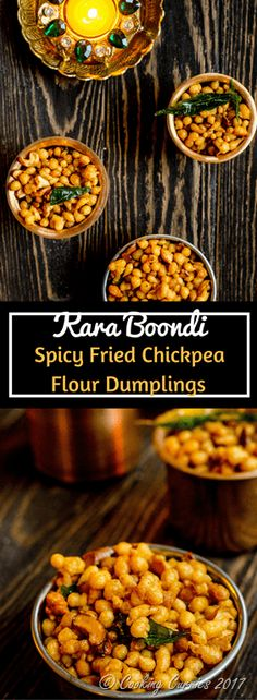 Kara Boondi  Spicy and crunchy little nuggets of chickpea flour that is just so perfect to keep munching along with a hot cup of chai, this Kara Boondi is a perfect tea time snack as well as a well deserved savory break from all the sweet bites during the festive season!  #vegan #diwali #diwali2017 #diwalirecipe #indianfestival #indianfood
