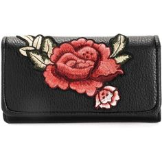 Black Rose Patch Crossbody Wallet ($19) ❤ liked on Polyvore featuring bags, wallets, vegan wallet, faux leather bag, vegan cross body bags, vegan leather wallet and vegan bags