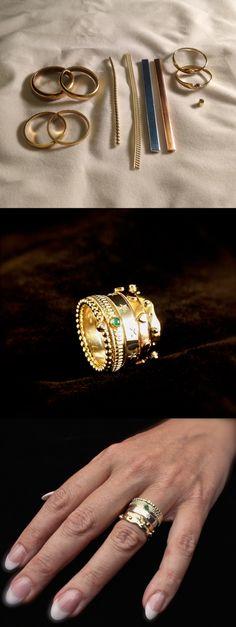 Geel-rood-witgouden damesring met diamant en smaragd, vervaardigd van o.a trouwringen ouders #goudsmidmetpassie #goudsmid #herinneringssieraad #omdatikvanjehou #handmadejewelry #handgemaaktesieraden #dutchdesign #nofilter
