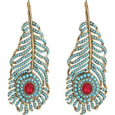 Kenneth Jay Lane Jeweled Feather Earrings - Shenae Grimes - Zimbio