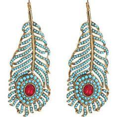 Kenneth Jay Lanej Eweled Feather Earrings Lane Beaded