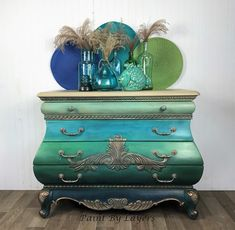 Bombe Chest, Coastal themed bombe, boho painted, entryway furniture, Bombay Entryway Furniture, Funky Furniture, Vintage Furniture, Paint Furniture, Furniture Ideas, Coastal Paint Colors, Victorian Parlor, Hand Wax, Bright Rooms