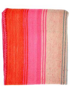 Bolivian Frazada Rug / Blanket, Blush, Pink & Orange