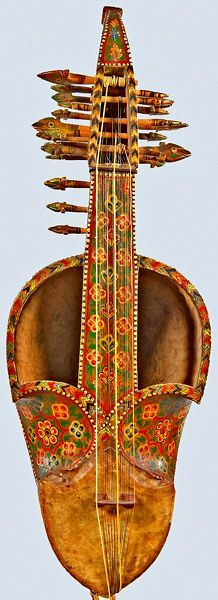 Short-necked lute (sarinda, saroz), northern India, late 19th century. Bowed, vertically-held folk instrument played throughout northern India, southern Afghanistan, and south Asia