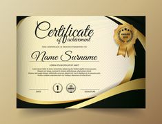 Certificate template with golden color Vector Certificate Of Achievement Template, Certificate Design Template, Graphic Design Cv, Brochure Design, Logo Design, Corporate Flyer, Business Flyer, Illustrator Video, Modele Word