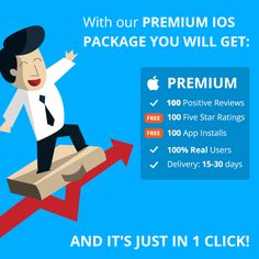 With our premium iOS package you will get 100 Positive Reviews from real users, plus 100 App Installs and 100 5* Ratings for free. And it's just in 1 click! #appreviews #app #promotion #ios #android #mobile #mobilemarketing #appmarketing #appdevelopment #playmarket #appstore #users #mobileapps #reviews