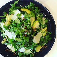 Simple & fresh. Avo Parmesan pistachio & rocket salad w/white balsamic dressing #salad #fresh #healthyeats #figmintcatering #entertainingwithfigmint #shareplates #dinnerparty #sydneycaterer
