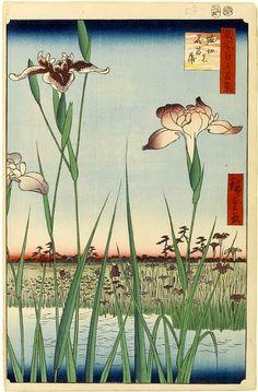Utagawa Hiroshige, Horikiri Iris Garden (Horikiri no Hanashobu), No. 64 from One Hundred Famous Views of Edo on ArtStack #utagawa-hiroshige #art
