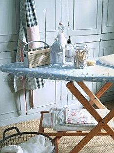 pretty ironing station I'd love a vintage laundry corner like this one, perhaps then i'd enjoy Ironing more. Ironing Station, Vintage Laundry, Iron Board, Doing Laundry, Interiores Design, Cottage Style, Homemaking, Sweet Home, Blue And White