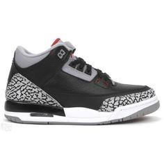 $57 for girls Air Jordan 3 GS Black Cement Black Varsity Red Cement Grey 398614-010