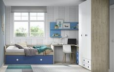 Habitación juvenil con cama compacta Condo Interior Design, Bay Window, Kidsroom, Toddler Activities, Corner Desk, Baby Kids, Cabinet, Storage, Bed