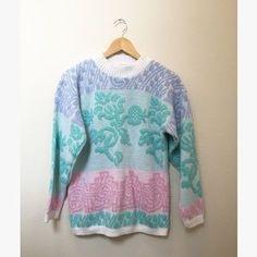 Vintage Sweaters - Vintage Metallic Pastel Mock Neck Sweater