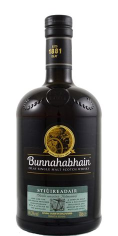 Bunnahabhain's Stiuireadair single malt pays homage to the shoreline at the distillery on the north-east coast of the Isle of Islay, Scotland. They used whisky matured in first and second fill sherry casks, with a leaning towards deliciously coastal malt.