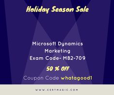 """Double Your Money Back If You Don't and get certified with Microsoft Dynamics Marketing Exam MB2-709. Gives your businesses a scalable, customizable scheme for creating modified, targeted digital marketing campaigns that integrate seamlessly with their sales efforts. Click here:  https://www.certmagic.com//MB2-709-certification-practice-exams.html for latest learning and practice material or study dumps. And use Coupon Code """"whatagood1"""" & Avail 50% #OFF."""