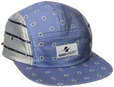 Gypsy Sport Women's Mixed Media 5 Panel Cap, Blue, One Size. Mixed-media cap with five-panel construction featuring adjustable leather back strap and logo patch at center front. In the words of the designer: I love these caps, which were inspired by fine art and camping. We've hand-crafted a mashup of denim, silk, and leather to create a lightweight hat with tons of textural appeal.
