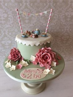 "Vintage tea party ""hen do"" - cake by Anna Caroline Cake Design 70th Birthday Cake For Women, 80 Birthday Cake, Fondant Cupcakes, Cupcake Cakes, Afternoon Tea Birthday Cake, Beautiful Cakes, Amazing Cakes, Hen Party Cakes, Vintage Tea Parties"