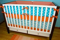 Crib Bedding Baby Bedding Orange and Aqua Crib Set by modifiedtot