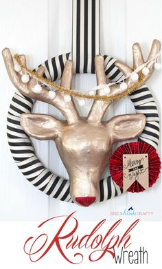 Rudolph Wreath wouldn't be complete without his mini sign - used making my Silhouette electronic cutting machine | Christmas / Winter project idea