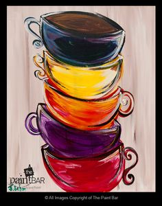 Stacked Teacups www.thepaintbar.com