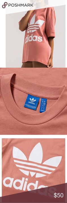 Adidas raw pink boyfriend fit trefoil tee Size medium, loose fit perfect for the athleisure style! Color is raw pink, more blush color, it's bold and comfortable. adidas Tops Tees - Short Sleeve