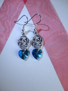 Outlander Inspired Earrings, Celtic Knot, Swarovski Bermuda Blue Heart,  Valentine's Day