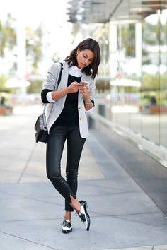 Preppy look - blouse, jumper, blazer, jeans, oxford shoes