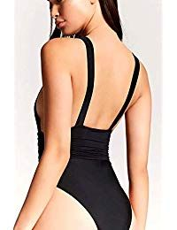 2d71a553841 Women Halter One Piece Swimsuit Black Deep V Neck Swimwear Sexy Backless Bathing  Suits