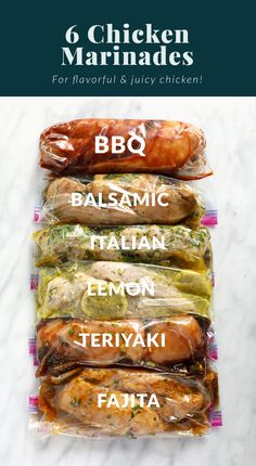 6 Easy Chicken Marinades (for the best tasting chicken!) - Fit Foodie Finds Italian Marinade For Chicken, Balsamic Chicken Marinades, Easy Bbq Chicken, Chicken Marinade Recipes, Healthy Chicken Dinner, Marinated Chicken, Easy Chicken Recipes, Healthy Chicken Marinades, Chicken Breast Marinades