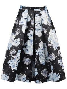 Black Midi Skirt with White Floral